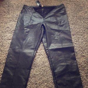 Bebe coated v-yoke legging faux leather charcoal